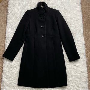 J Crew Black Wool Sybil Double Cloth Coat Jacket